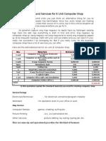 quotation and services for 6 unit computer shop