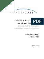 FATF ◊ GAFI. Annual Report 2003 - 2004.