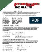 2013-14 athletic menu