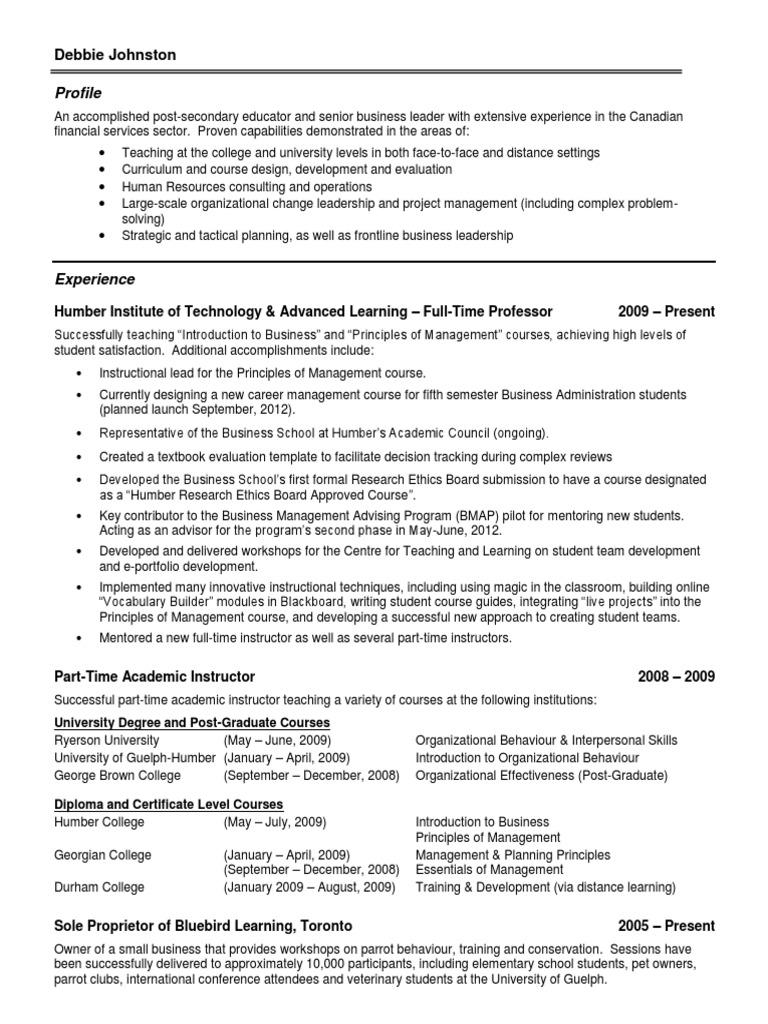 Resume of debbie johnston human resource management business 1betcityfo Images