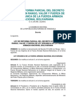 Ley de Reforma Parcial del Decreto Nº 6.239, con Rango, Valor y Fuerza de Ley Orgánica de la Fuerza Armada Nacional Bolivariana