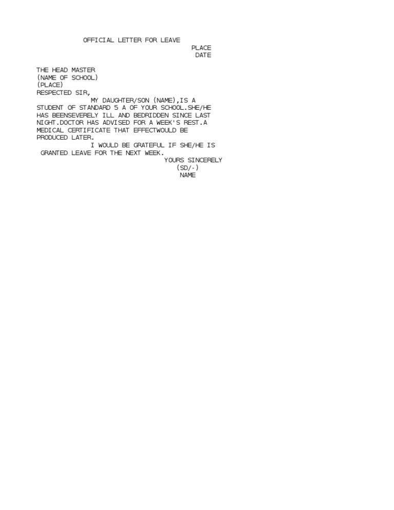 leave letter for son