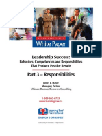 Leadership Success, Part 3 - Responsibilities