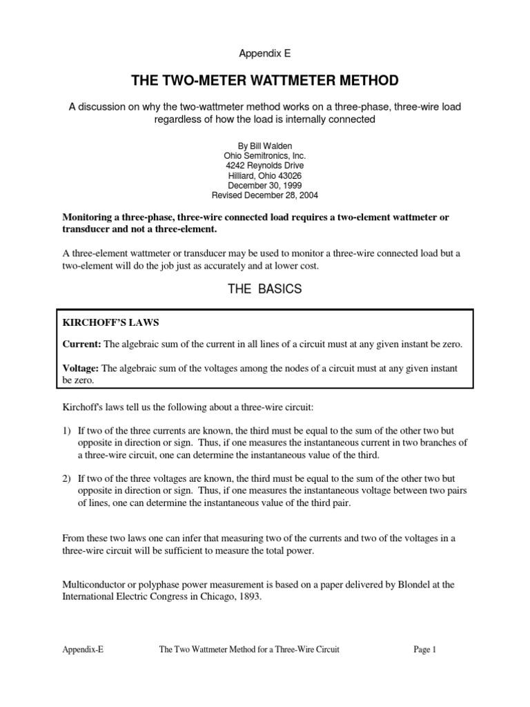 Two Wattmeter Method(E) | Quantity | Electronics