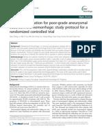 2013 BMC Neurology Timing of Operation for Poor-grade Aneurysmal Subarachnoid Hemorrhage
