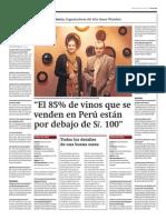 """""""El 85% de vinos que se venden en Perú están por debajo de S/. 100"""""""