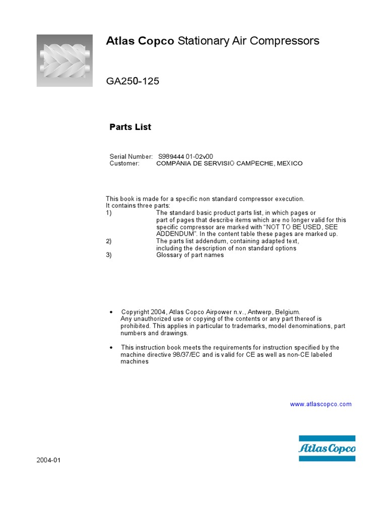 Atlas Copco Parts Diagram Trusted Wiring Diagrams Ga 250 No S98944401 Electrical Connector Valve Lf50