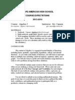 algebra 2 course expectations 2013