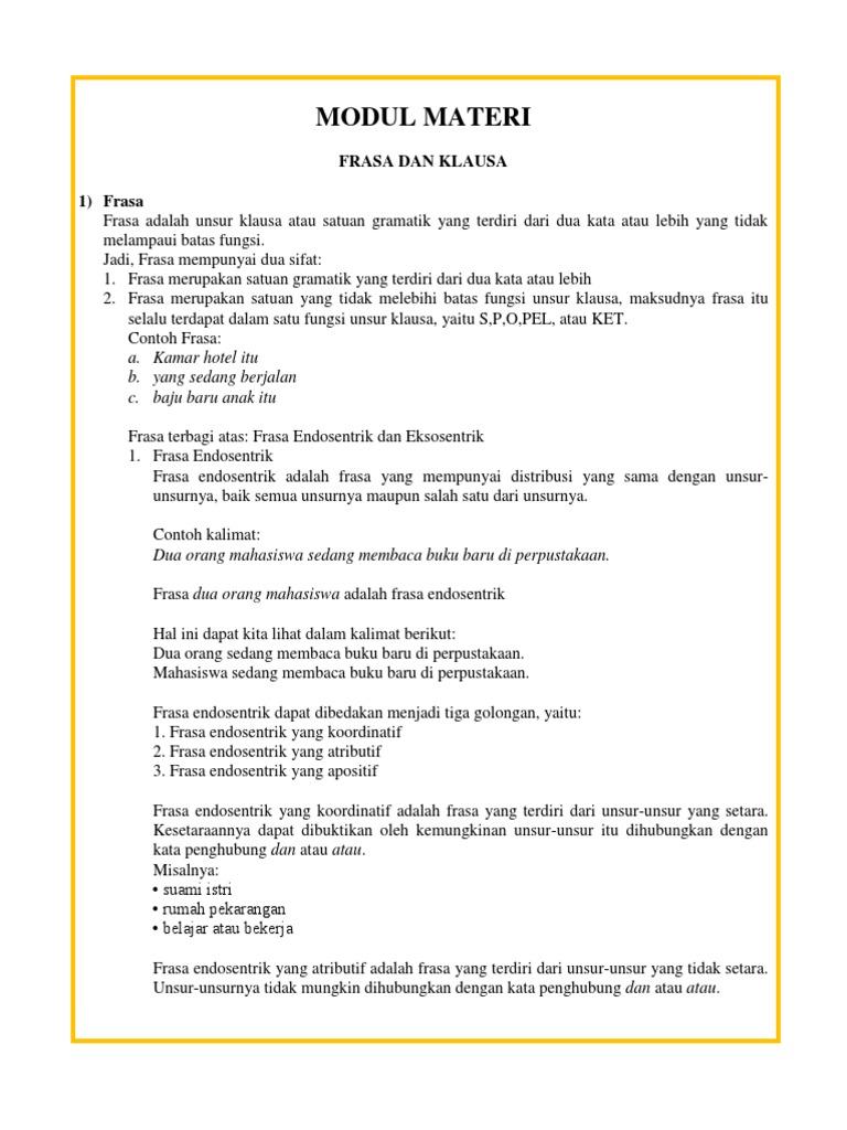 Materi Bahasa Indonesia Tentang Frasa Dan Klausa Docx