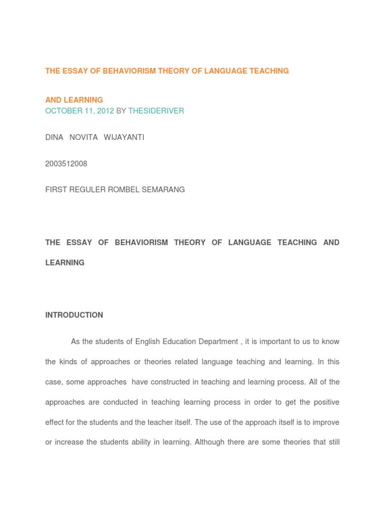 the essay of behaviorism theory of language teaching and the essay of behaviorism theory of language teaching and behaviorism classical conditioning