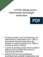 Metodele PCR Utilizate Pentru Deter Min a Rile de Biologie Molecular A