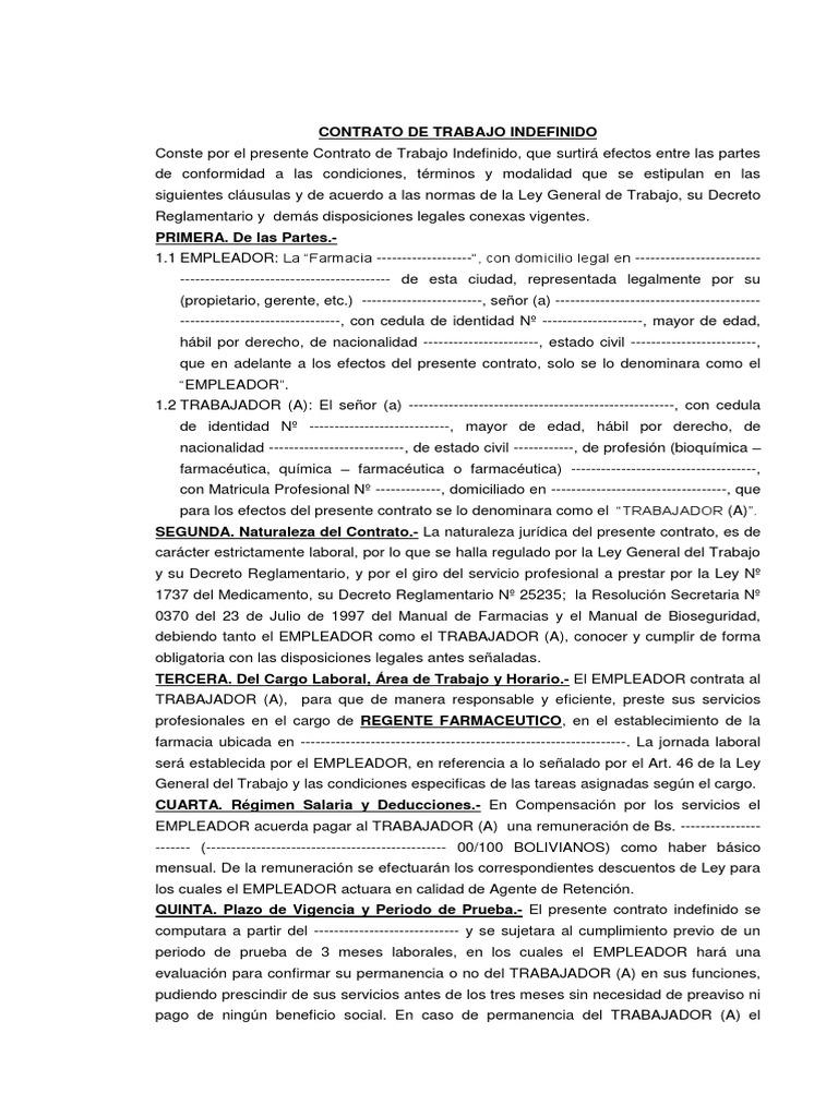 Contrato de trabajo modelo para regente farmacia 1 for Contrato indefinido ejemplo