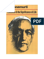 J. Krishnamurti - Education and the Significance of Life