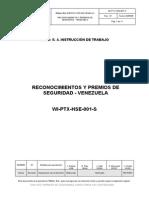 WI-PTX-HSE-001-S Reconocimientos y Premios de Seguridad Venezuela Rev 01 020506