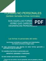 FORMAS NO PERSONALES DE LOS VERBOS EN LATÍN