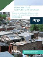 """Informe """"Anteproyecto de presupuesto de CABA 2014"""""""