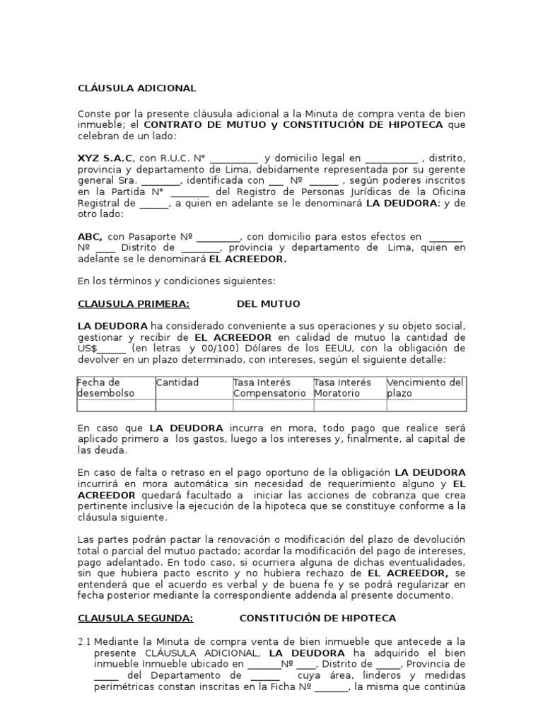 Contrato De Mutuo Con Garant A Hipotecaria
