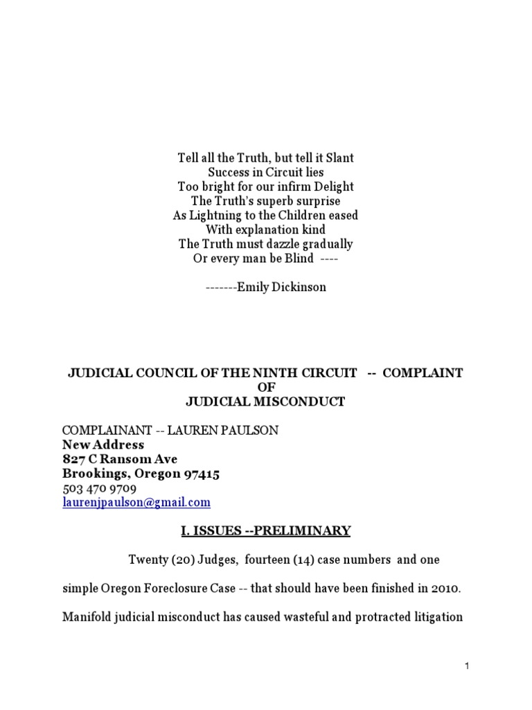 JUDICIAL MISCONDUCT IN FORECLOSURE LITIGATION Foreclosure – Judicial Council Form Complaint