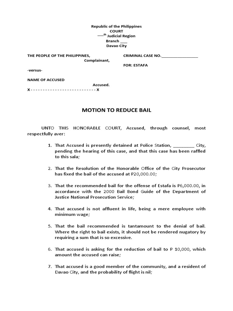 motion to reduce bail docx rh pt scribd com national prosecution service manual philippines department of justice national prosecution service manual