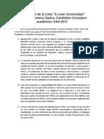 """Declaración de la Lista """"A crear Universidad"""" Sebastián Zenteno Gatica, Candidato Consejero académico"""