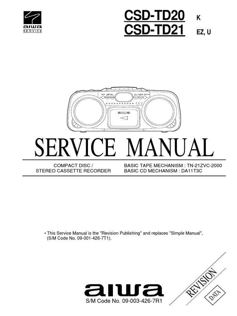 Сервисная инструкция aiwa csd td20 csd td21