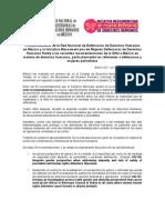 Pronunciamiento de la Red Nacional de Defensoras de Derechos Humanos en México y la Iniciativa Mesoamericana de Mujeres Defensoras de Derechos Humanos frente a las recientes recomendaciones de la ONU a México en materia de derechos humanos, particularmente las referentes a defensoras y mujeres periodistas