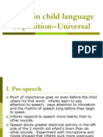 (3) Stages in Child Language Acquistion--Universal