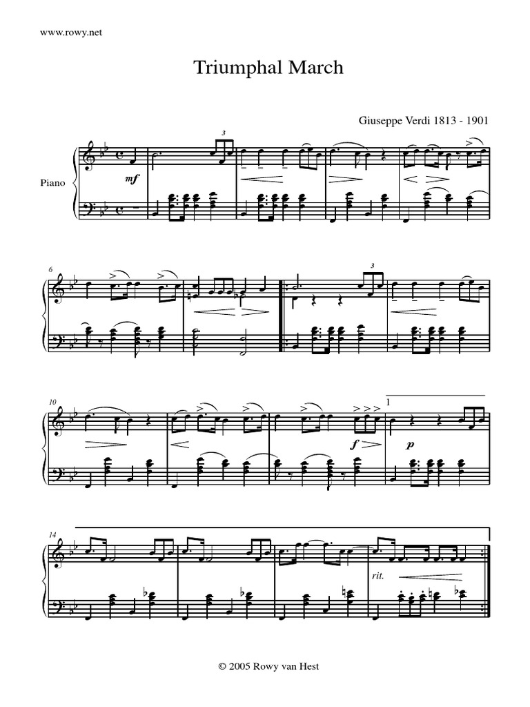 G Verdi Pno Marcha Triunfal De Aida