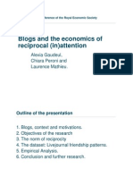 Blogs and the economics of reciprocal (in)attention