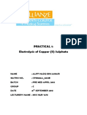 LR 1 Electrolysis of copper sulphate docx | Anode | Cathode