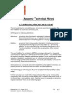 Essroc Masonry Tech 9 - Admixtures, Additives & Additions
