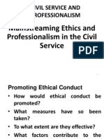 Mainstreaming Ethics and Professionalism in the Civil Service Week 6 Slides.ppt