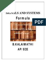 Signals and Systems(Ec2204) Formula