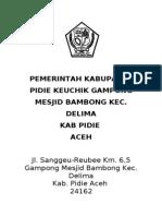 Sampul Pemerintah Kabupaten Pidie Keuchik Gampong Mesjid Bambong Kec
