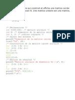 Exercice Sur La Programmation Des Matrices Avec Le Langage C