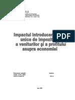 Impactul Introducerii Cotei Unice de Impozitare a Veniturilor Si a Profitului Asupra Economiei