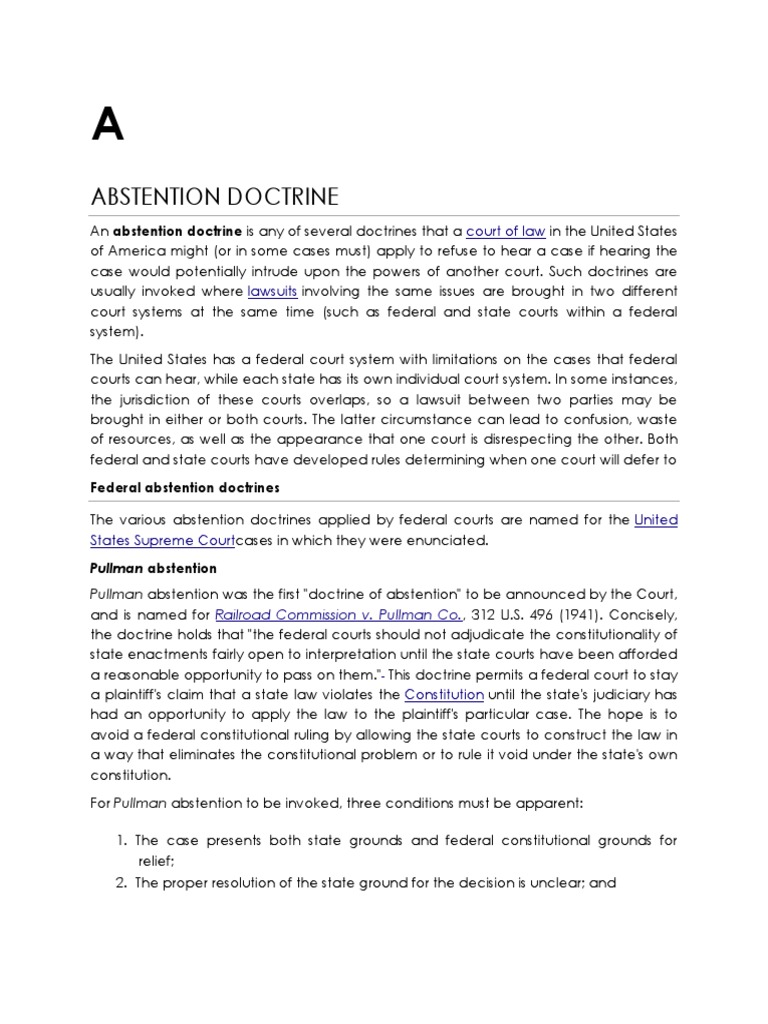 LEGAL DOCTRINES.docx | Abstention Doctrine | Best Interests
