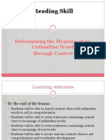Determining the Meaning of an Unfamiliar Word through Context.ppt
