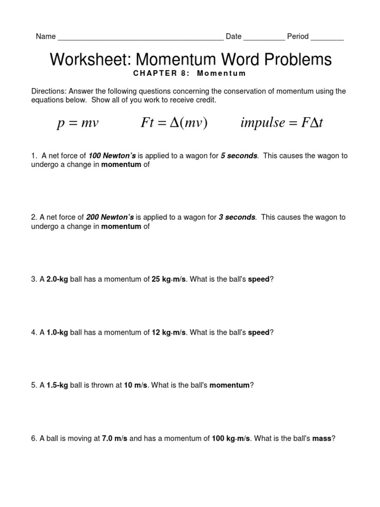Worksheets Momentum Problems Worksheet worksheet ch equation review momentum word problems pdf
