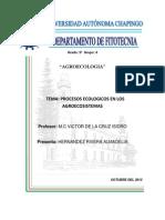 Procesos ecológicos del agroecosistema