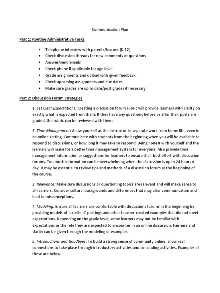 Communication Plan pdf | Internet Forum (10 views)