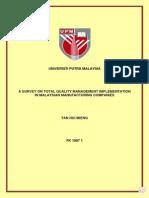 A Survey on Total Quality Management Implementation