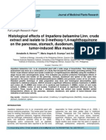 Histological effects of Impatiens balsamina Linn. crude extract and isolate to 2-methoxy-1,4-naphthoquinone on the pancreas, stomach, duodenum, and spleen of tumor induced Mus musculus.pdf