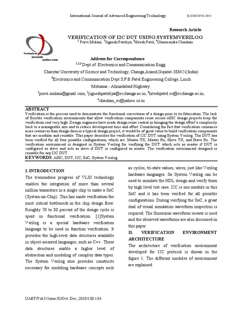 VERIFICATION OF I2C using SYSTEM VERILOG | System On A Chip