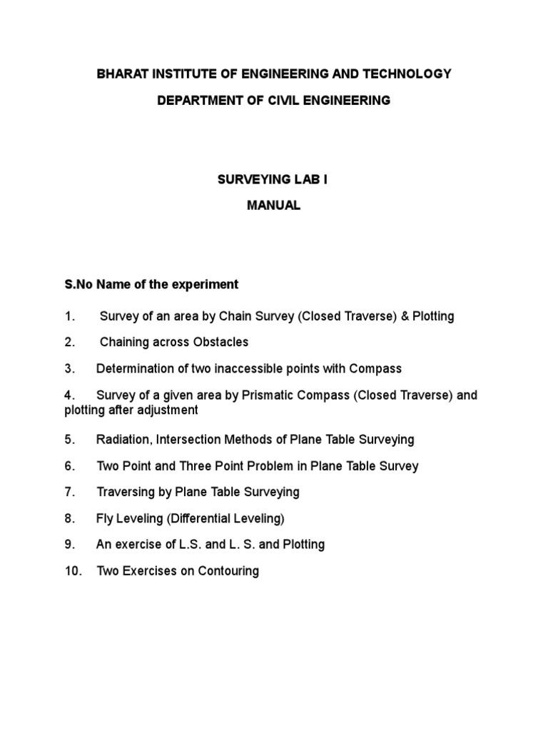 surveying i lab manual pdf surveying compass rh scribd com surveying lab manual 3rd sem pdf anna university Lab Manual Fossils
