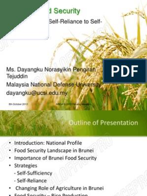 Brunei S Food Security Pdf Brunei Rice