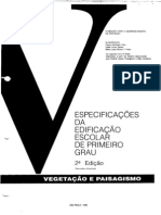 Especificações da Edificação Escola de Primeiro Grau - FDE