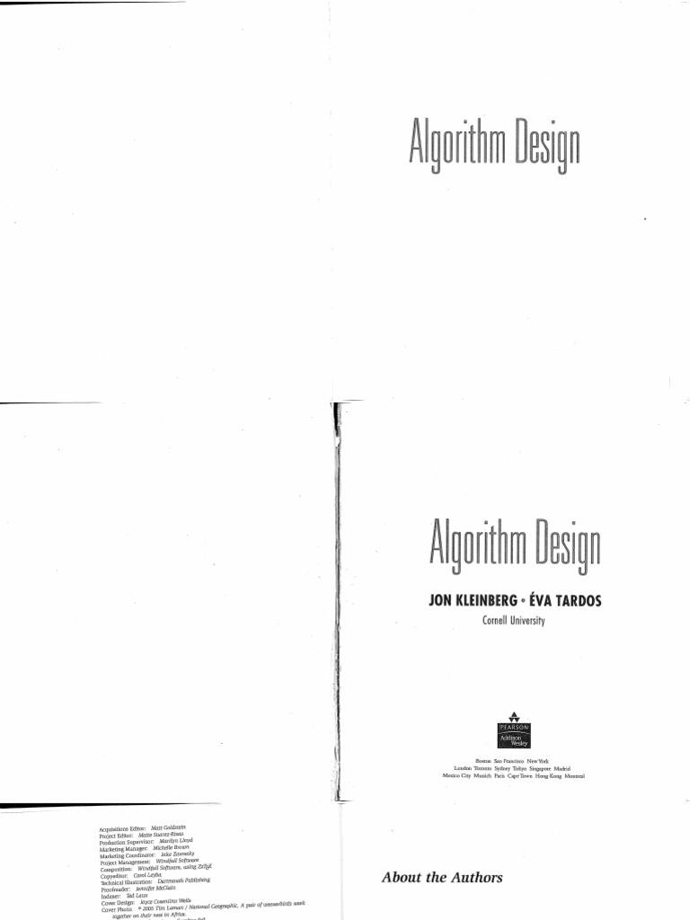 Design kleinberg pdf algorithm by jon and eva tardos