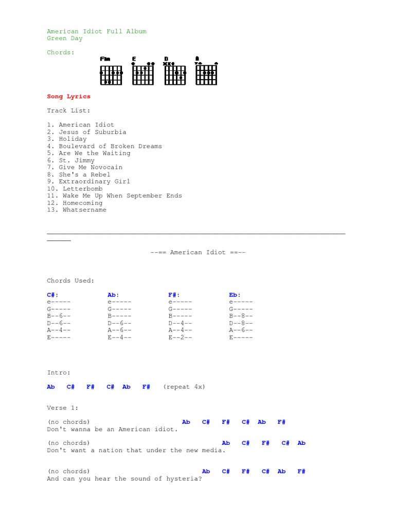 Tab American Idiot Full Album Song Structure Elements Of Music