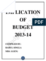 Implication of Budget 2013